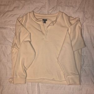 Aerie cropped button up long sleeve